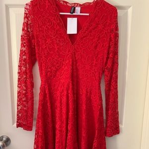 NWT H&M Red lace dress  small